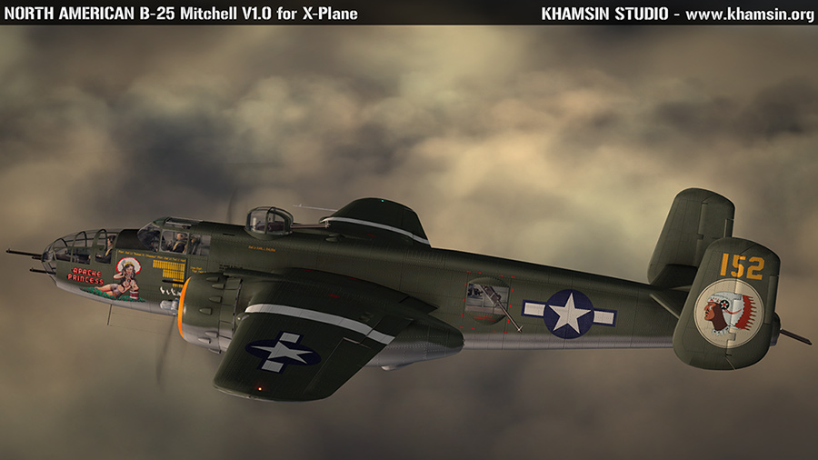 "NORTH AMERICAN B-25J Mitchell ""Apache Princess"" 44-28059 for XPlane - www.khamsin.org"
