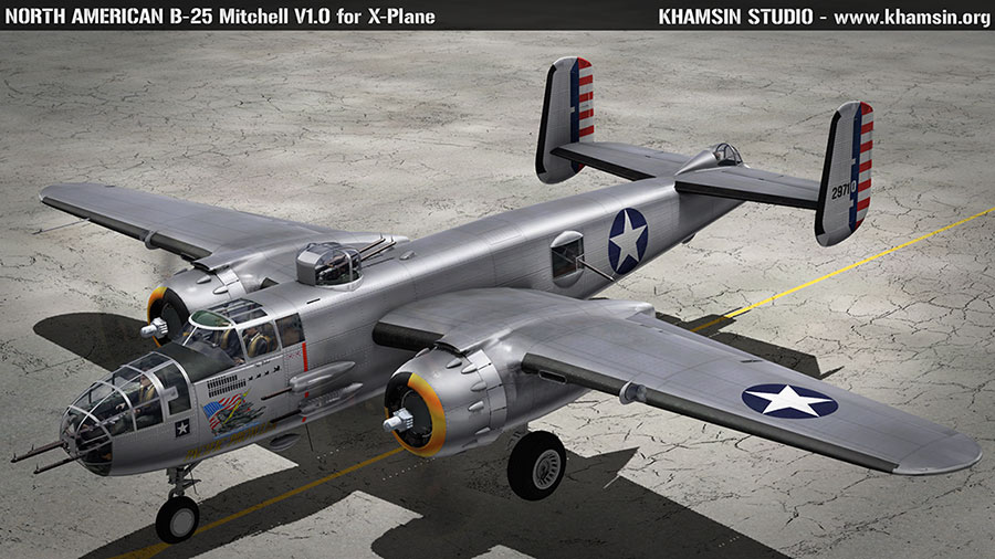 "NORTH AMERICAN B-25J Mitchell ""Pacific Prowler"" 44-30823 for XPlane - www.khamsin.org"