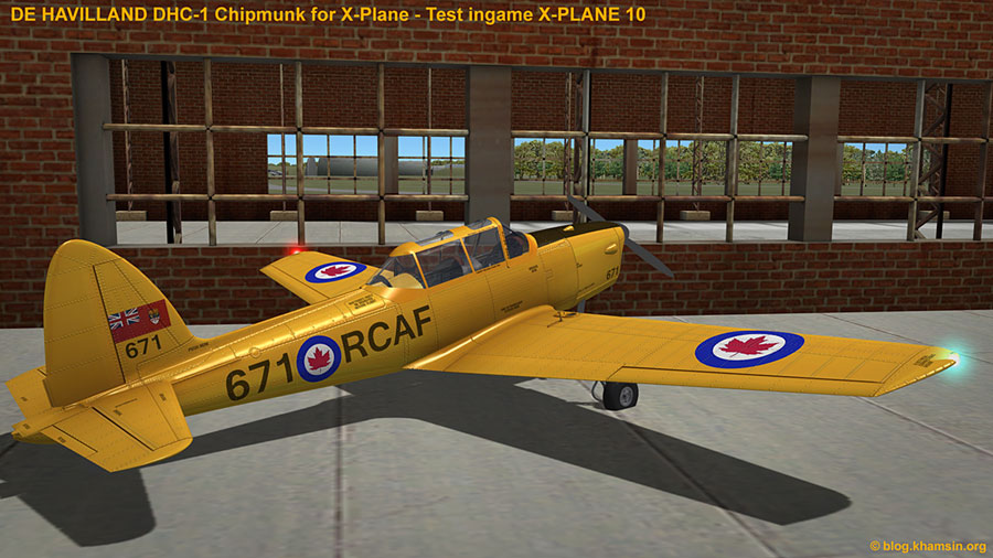 De HAVILLAND DHC-1 Chipmunk - 3D model for X-Plane - Test ingame X-Plane 10
