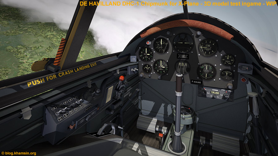 De HAVILLAND DHC-1 Chipmunk - Cockpit - 3D model for X-Plane - Test ingame X-Plane 10