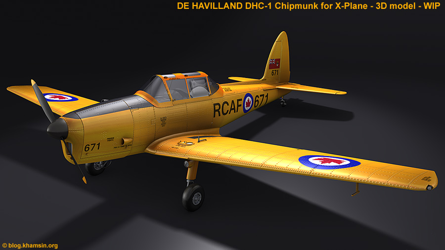 De HAVILLAND DHC-1 Chipmunk - 3D model for X-Plane
