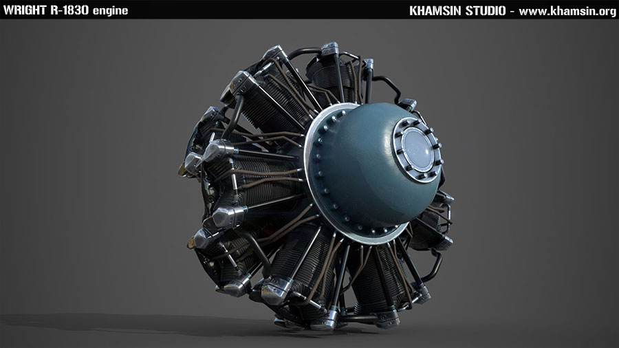 Wright R1830 engine 3D model