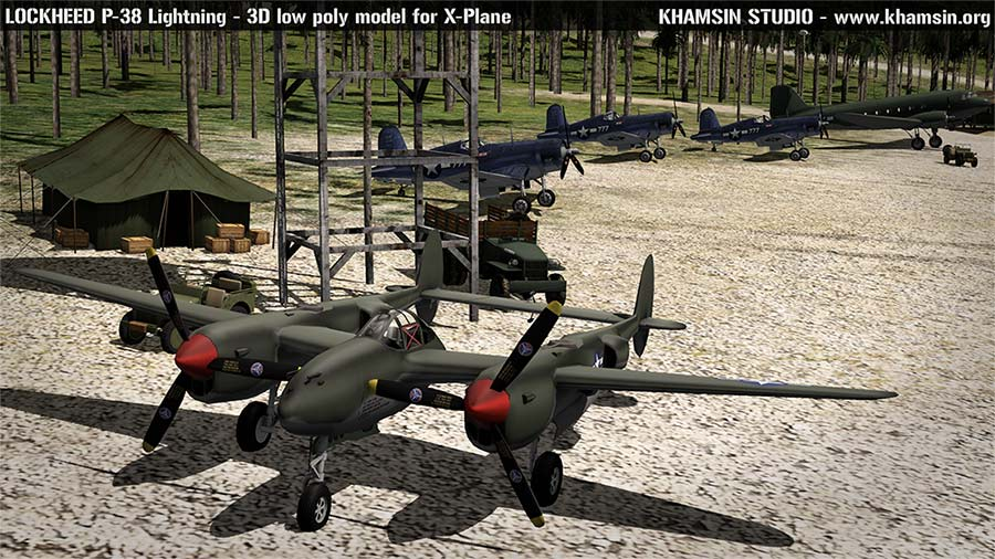 Lockheed P-38 Lightning - low poly 3D model - XPLANE