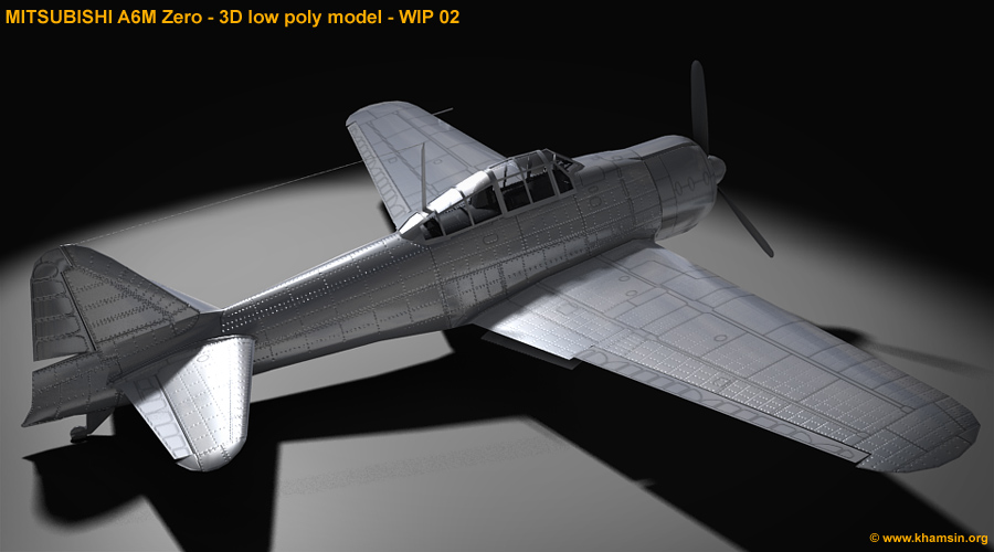 Mitsubishi A6M Zero - 3D low poly model