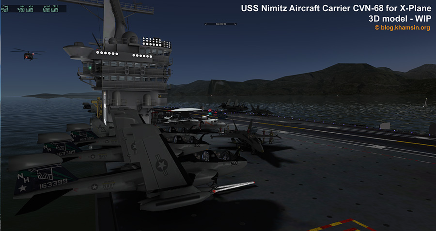 USS Nimitz aicraft carrier for X-Plane - Test ingame 05 - © blog.khamsin.org