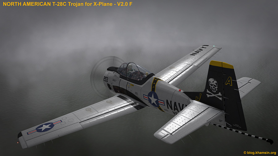 North American T-28 Trojan V2.0F - Screenshot Xplane 10