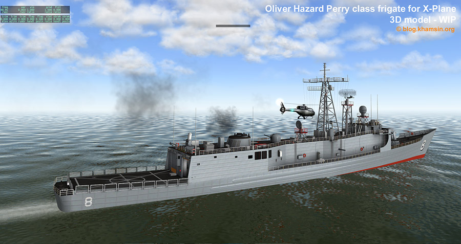 Oliver Hazard Perry class frigate 3D model for X-Plane - WIP